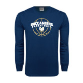 Navy Long Sleeve T Shirt-Buccaneers Basketball Arched