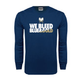 Navy Long Sleeve T Shirt-We Bleed Blue & Gold
