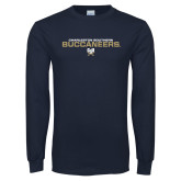 Navy Long Sleeve T Shirt-Charleston Southern Buccaneers Stacked w/ Logo