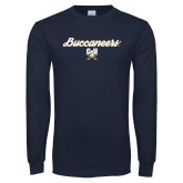 Navy Long Sleeve T Shirt-Buccaneers Script