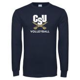 Navy Long Sleeve T Shirt-Volleyball