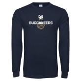 Navy Long Sleeve T Shirt-Sharp Net Basketball