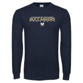 Navy Long Sleeve T Shirt-Football Yards