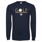 Navy Long Sleeve T Shirt-Golf Star w/ Bars