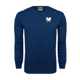 Navy Long Sleeve T Shirt-CSU-Swords Logo