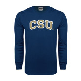 Navy Long Sleeve T Shirt-CSU Arched
