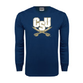 Navy Long Sleeve T Shirt-CSU-Swords Logo Distressed