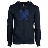 ENZA Ladies Navy Fleece Full Zip Hoodie-Primary Athletic Mark Dark Blue Glitter