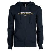 ENZA Ladies Navy Fleece Full Zip Hoodie-Charleston Southern Buccaneers Stacked w/ Logo