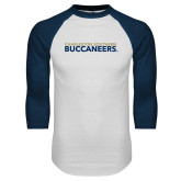 White/Navy Raglan Baseball T Shirt-Charleston Southern Buccaneers