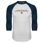 White/Navy Raglan Baseball T Shirt-Charleston Southern Buccaneers Stacked w/ Logo