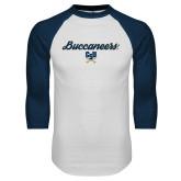 White/Navy Raglan Baseball T Shirt-Buccaneers Script