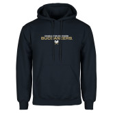 Navy Fleece Hoodie-Charleston Southern Buccaneers Stacked w/ Logo