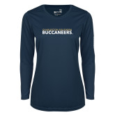 Ladies Syntrel Performance Navy Longsleeve Shirt-Charleston Southern Buccaneers