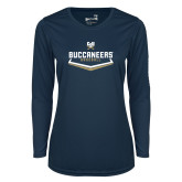 Ladies Syntrel Performance Navy Longsleeve Shirt-Baseball Plate