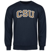 Navy Fleece Crew-CSU Arched