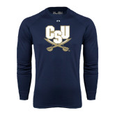 Under Armour Navy Long Sleeve Tech Tee-CSU-Swords Logo