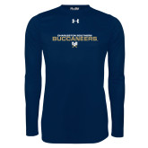 Under Armour Navy Long Sleeve Tech Tee-Charleston Southern Buccaneers Stacked w/ Logo