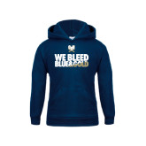 Youth Navy Fleece Hood-We Bleed Blue & Gold