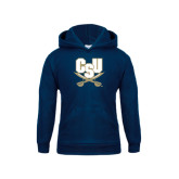 Youth Navy Fleece Hood-CSU-Swords Logo