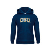 Youth Navy Fleece Hood-CSU Arched