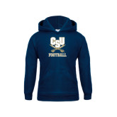 Youth Navy Fleece Hood-Football