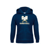 Youth Navy Fleece Hood-Basketball