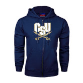 Navy Fleece Full Zip Hood-CSU-Swords Logo