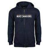 Navy Fleece Full Zip Hoodie-Charleston Southern Buccaneers