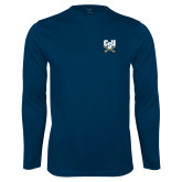 Performance Navy Longsleeve Shirt-Primary Athletic Mark