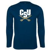 Syntrel Performance Navy Longsleeve Shirt-Primary Athletic Mark