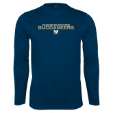 Performance Navy Longsleeve Shirt-Charleston Southern Buccaneers Stacked w/ Logo