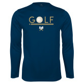 Performance Navy Longsleeve Shirt-Golf Star w/ Bars