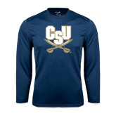 Syntrel Performance Navy Longsleeve Shirt-CSU-Swords Logo