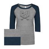 ENZA Ladies Athletic Heather/Navy Vintage Triblend Baseball Tee-CSU-Swords Logo Graphite Glitter