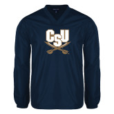 V Neck Navy Raglan Windshirt-CSU-Swords Logo
