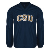 V Neck Navy Raglan Windshirt-CSU Arched