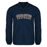 V Neck Navy Raglan Windshirt-Charleston Southern Arched
