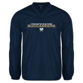 V Neck Navy Raglan Windshirt-Charleston Southern Buccaneers Stacked w/ Logo