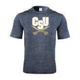 Performance Navy Heather Contender Tee-CSU-Swords Logo