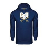 Under Armour Navy Performance Sweats Team Hood-CSU-Swords Logo