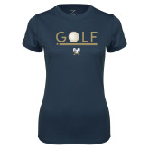 Ladies Syntrel Performance Navy Tee-Golf Star w/ Bars