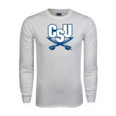White Long Sleeve T Shirt-CSU-Swords Logo