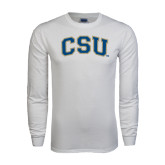 White Long Sleeve T Shirt-CSU Arched