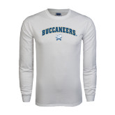 White Long Sleeve T Shirt-Buccaneers Arched