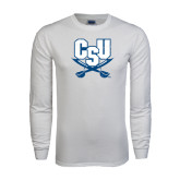 White Long Sleeve T Shirt-CSU-Swords Logo Distressed