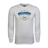 White Long Sleeve T Shirt-Buccaneers Basketball Arched