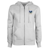 ENZA Ladies White Fleece Full Zip Hoodie-Primary Athletic Mark