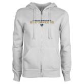 ENZA Ladies White Fleece Full Zip Hoodie-Charleston Southern Buccaneers Stacked w/ Logo