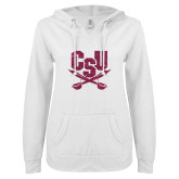 ENZA Ladies White V Notch Raw Edge Fleece Hoodie-Primary Athletic Mark Hot Pink Glitter